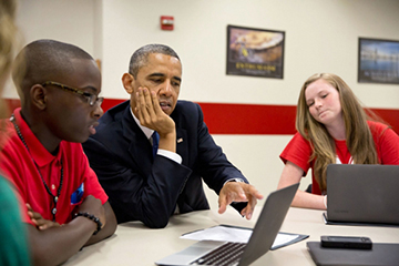 President Obama talks with students at Mooresville Middle School, Mooresville, N.C.