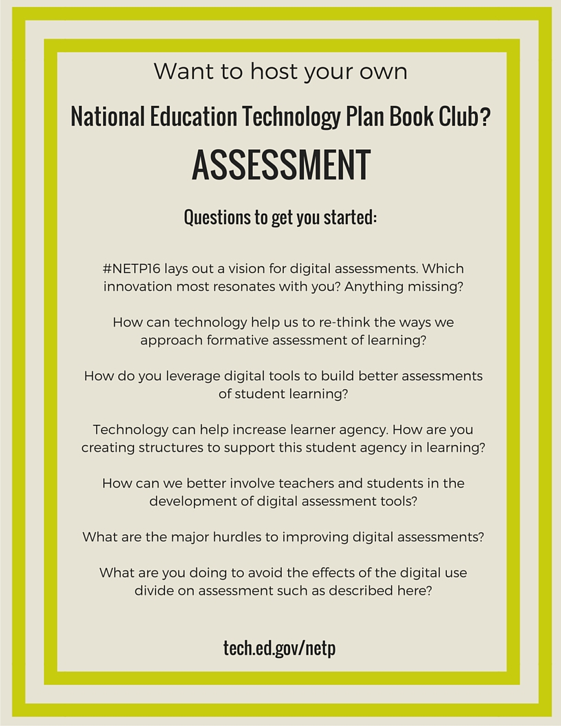 NETP 16 Book Club questions for Assessment section