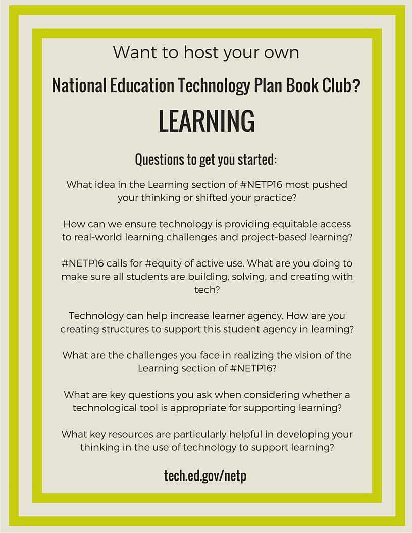 NETP 16 Book Club questions for Learning section