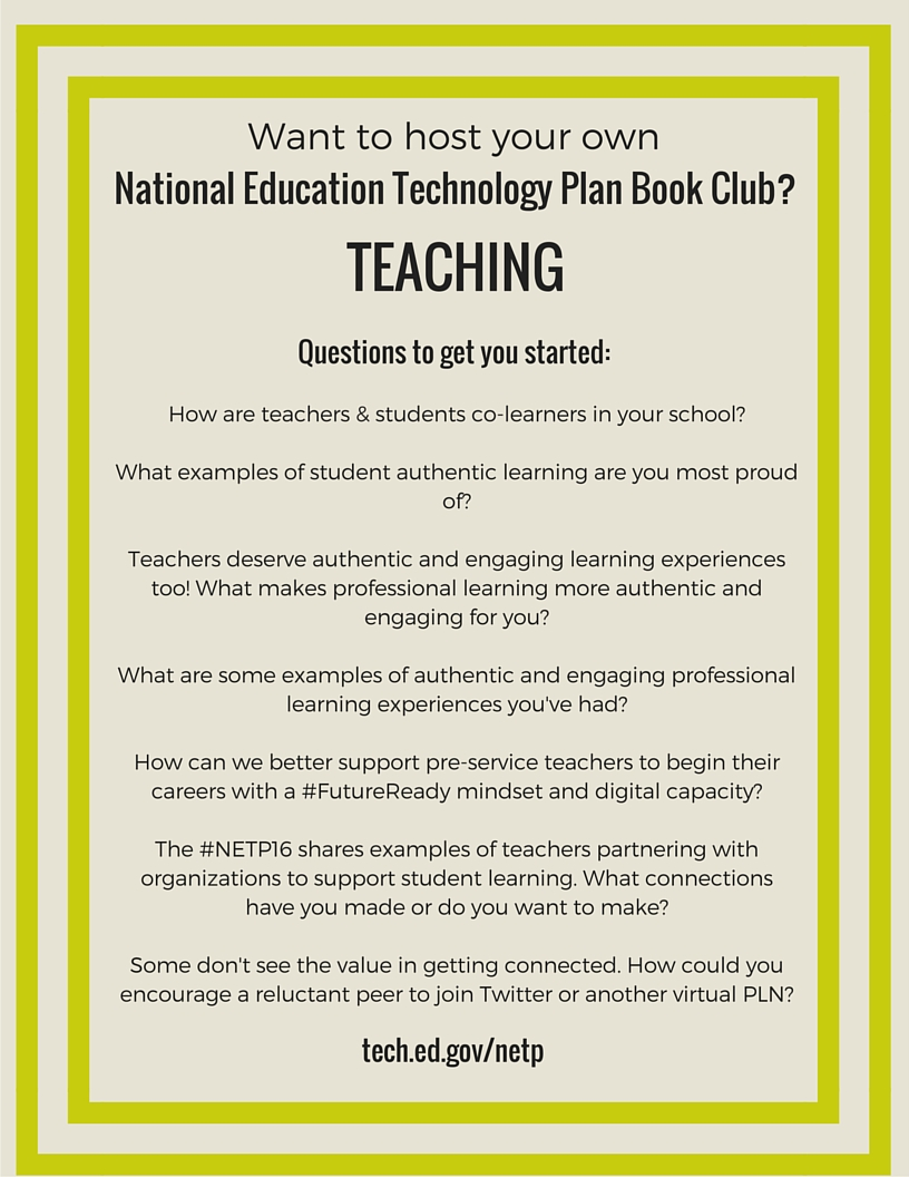 NETP 16 Book Club questions for Teaching section