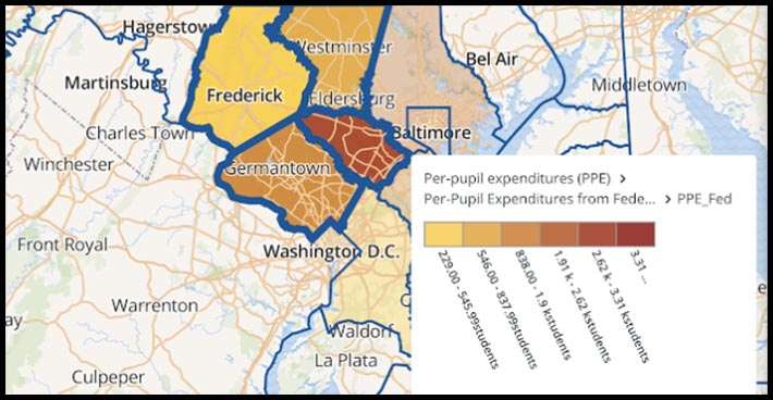 Screen capture of design shows map display of per pupil expenditure data