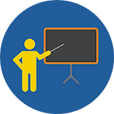 Graphic of teacher at chalkboard