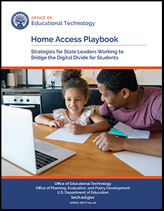 Home Access Playbook cover includes title and image of young child and adult learning together in kitchen with laptop computer.