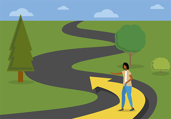 Illustration of a woman walking up a road following an arrow.